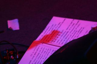 Guitar headstock shadow on lyric sheet, Great American Music Hall